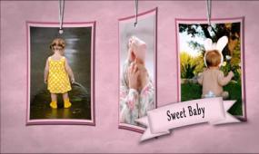 AE甜心宝宝生日电子相册开场视频模板
