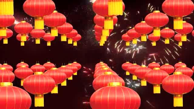 高清无缝循环新年灯笼LED开场视频素材