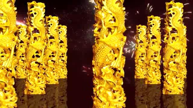 高清无缝循环黄金龙柱中国龙开场LED视频素材