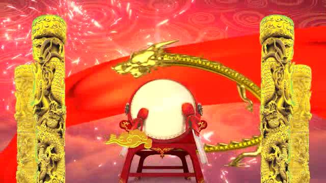 高清喜庆新年击鼓开场LED视频素材