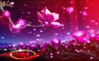 唯美紫色花LED晚会演出背景素材