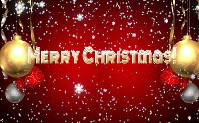 高清圣诞节英文文字LED视频开场素材