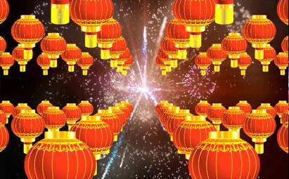 春节喜庆节日红色灯笼LED视频素材