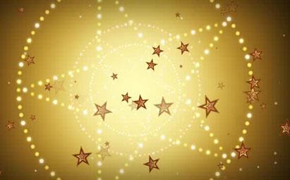 金色五角星旋转LED灯光背景素材
