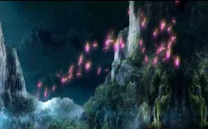 峡谷瀑布中蝴蝶飞舞led晚会背景视频