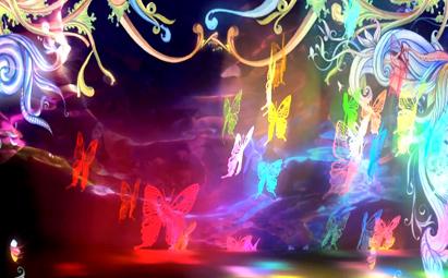 高清肩上芭蕾五彩彩蝶LED晚会视频背景