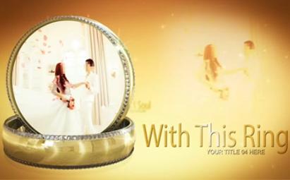 AE浪漫典雅的婚戒主题婚礼电子相册视频模板