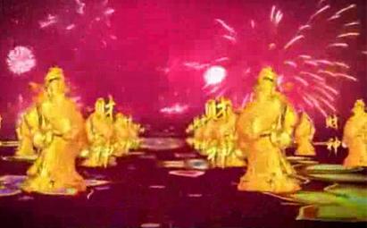 喜庆财神爷循环LED晚会背景视频素材