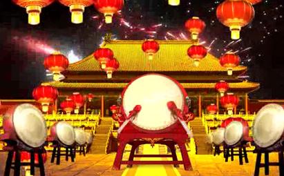 新春喜庆击鼓羊年晚会LED视频背景
