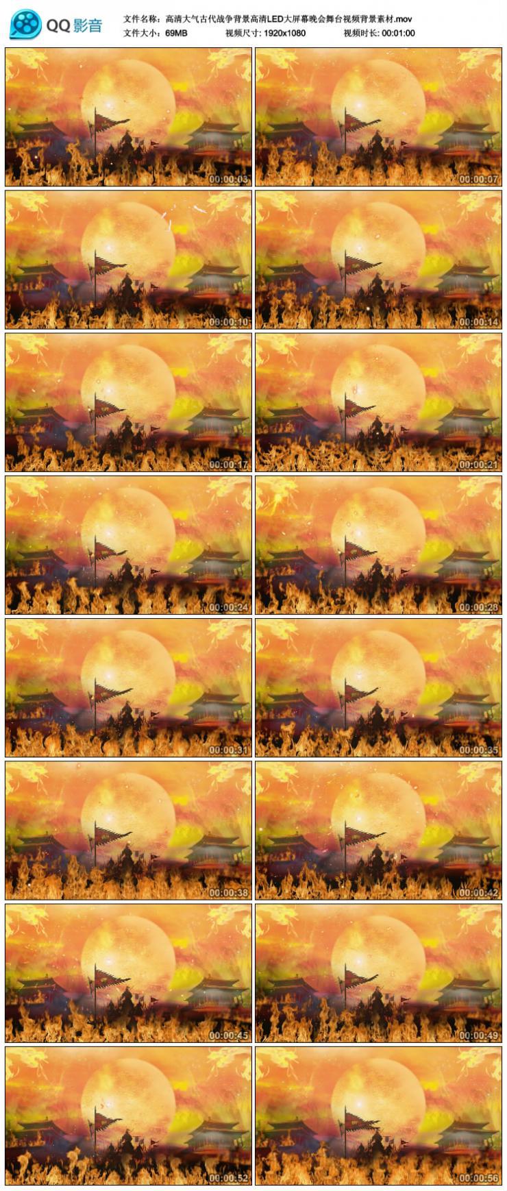 高清大气古代战争背景高清LED大屏幕晚会舞台视频背景素材