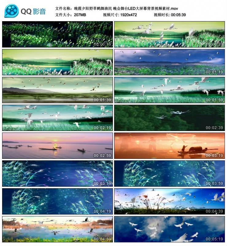 晚霞夕阳野草鹤舞渔民 晚会舞台LED大屏幕背景视频素材