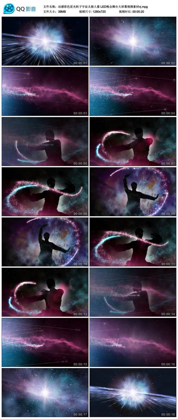 动感彩色星光粒子宇宙太极人像LED晚会舞台大屏幕视频素材vj