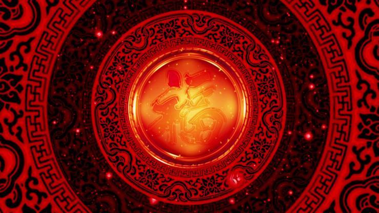 喜庆中国风红色转盘视频