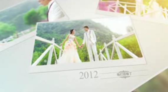 唯美爱心照片墙婚礼AE模板