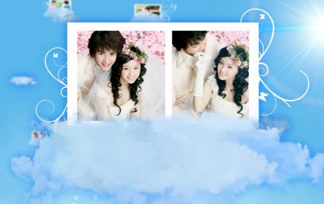 AE蓝天白云婚礼电子相册视频模板
