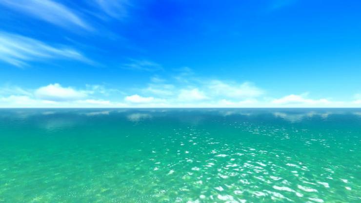 蓝色大海蓝天白云动态视频
