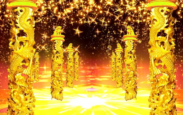 喜庆黄金柱子LED晚会背景素材
