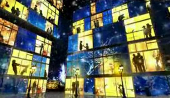 人间真情led爱透过窗户 路灯下雪烟花 晚会舞台LED素材
