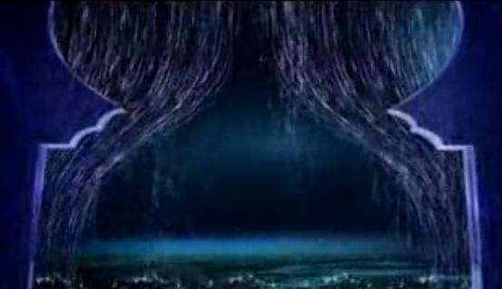 卷珠帘LED大屏幕背景素材 水幕水帘晚会舞台演出VJ秀素材