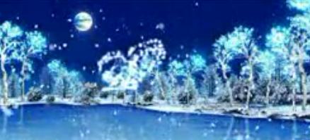 全息素材 唯美塞北雪雪花松树 冬天飘雪舞台晚会素材