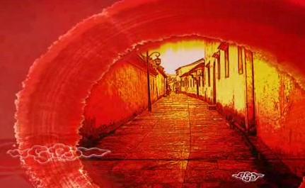 红色中国风脸普LED晚会背景视频素材