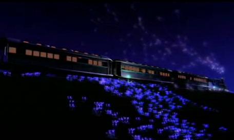 花丛中的火车行驶LED晚会背景视频素材