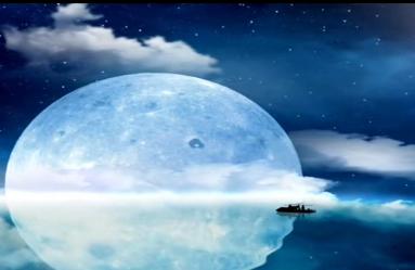 唯美月圆之夜太湖神话LED舞台背景视频素材