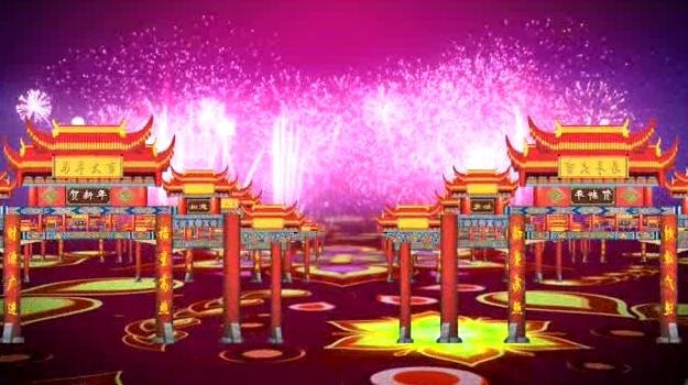 新年新春喜庆牌坊LED晚会视频背景素材