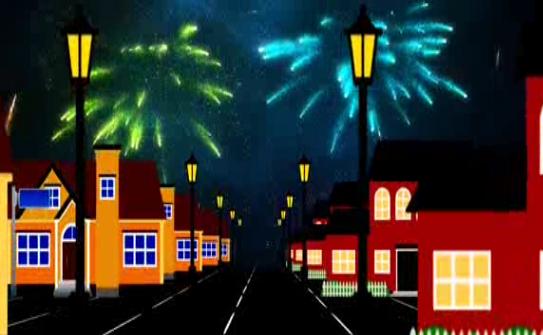 城市背景烟花LED晚会背景视频素材