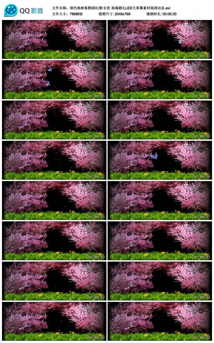 绿色桃树喜鹊3D幻影全息高端婚礼LED大屏幕素材高清动态
