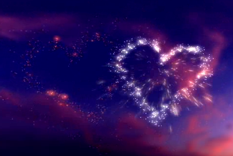 高空爱心烟火LED晚会背景视频素材