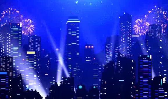 高楼大厦高空烟花LED晚会背景视频素材