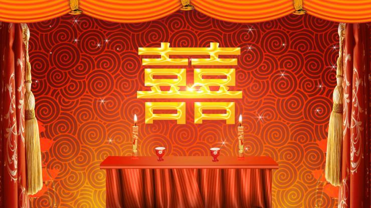 中式婚庆高清拜堂拜天地 LED婚礼动态背景