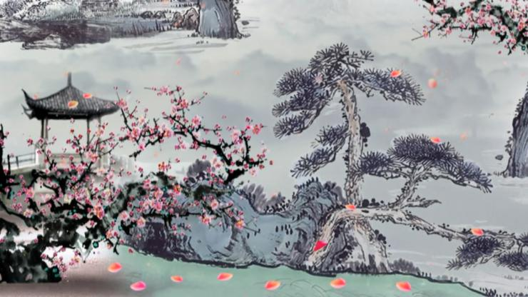 水墨古典唯美松树仙鹤