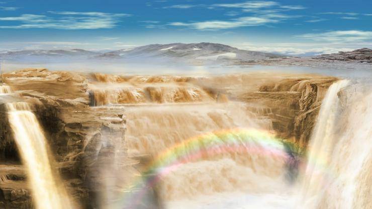 黄河瀑布彩虹大气舞台晚会素材