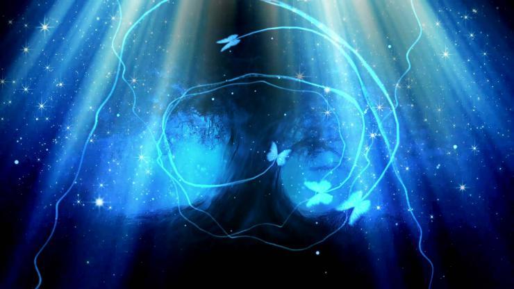 梦幻蓝色夜空 神密精灵树 荧光蝴蝶飞舞