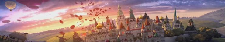 浪漫婚礼玫瑰花瓣卡通城堡 婚庆背景