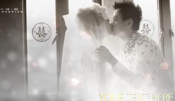 白色婚礼唯美花瓣飘落展示