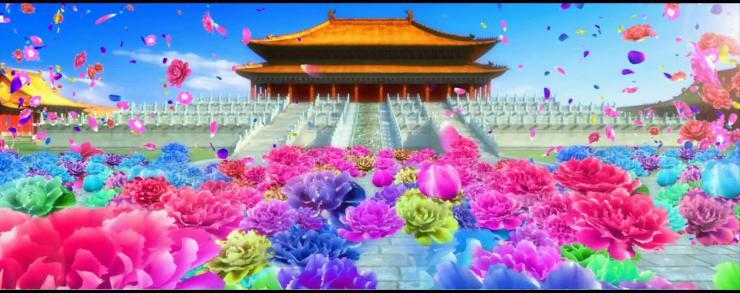 大气皇宫开门红皇宫牡丹花海开场视频