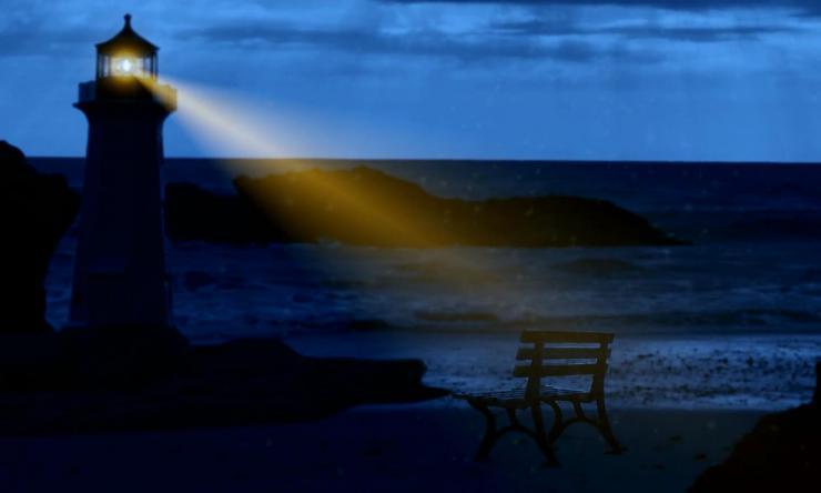 超唯美灯塔大海海滩视频