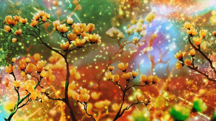 唯美梦幻鲜花粒子梅花