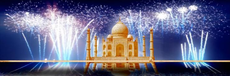 印度泰姬陵城堡烟花
