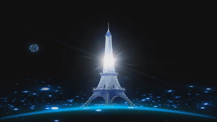 浪漫巴黎的铁塔婚庆婚礼庆典LED大屏幕晚会舞台