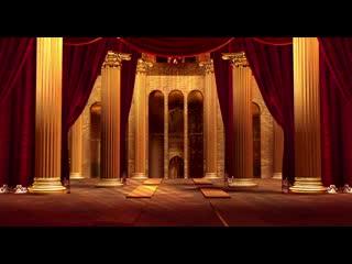 LED婚礼  帷幕拉开 黄金宫殿 背景素材