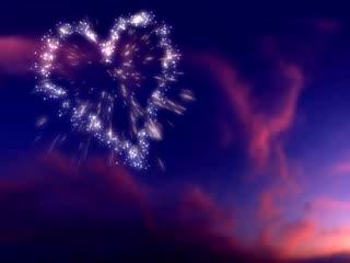 LED婚礼  烟花爱心盛开  视频背景素材