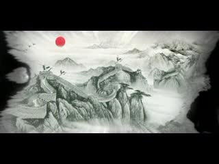 LED中国风  宏伟四季江山卷轴滴墨 视频背景素材