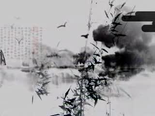 LED中国风  竹子仕女仙鹤水墨风 视频素材