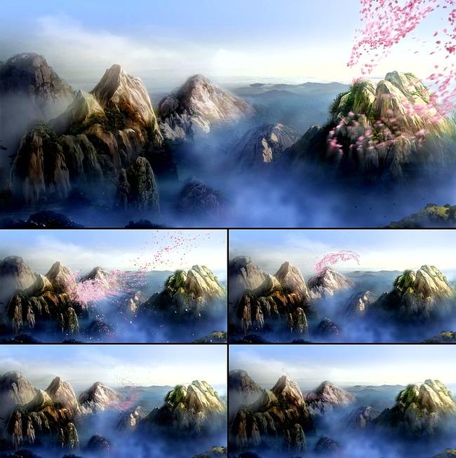 梦幻舞台LED背景崂山飘花瓣视频