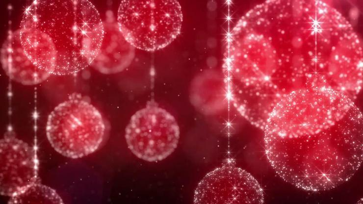 时尚红色圣诞球动态视频