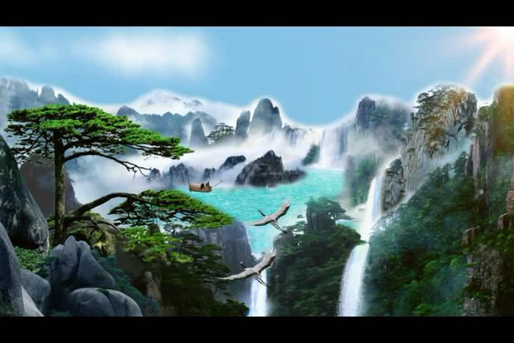 中国风水墨风高山流水瀑布人间仙境LED背景视频素材